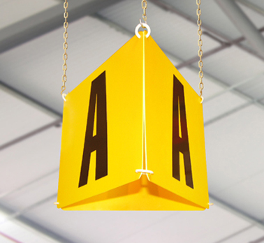 Aisle hanging signs