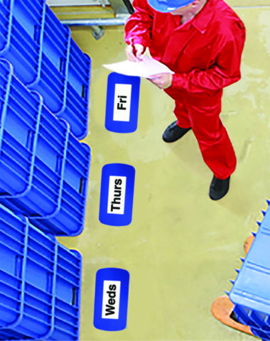 Blue. DL sized floor location labels to help identify stack areas on warehouse floor