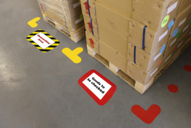 Frames4floors and floor signals, Floor marking products combined to mark out and identify areas of the warehouse floor