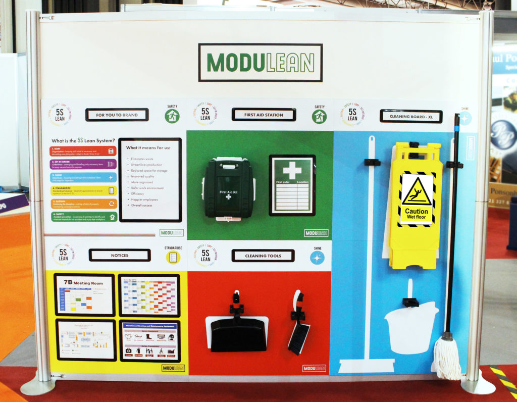 modulean MODULEAN 5s lean stand exhibit IMHX international material handling exhibition shadow boards display