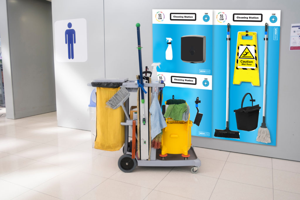 5s shadow boards display modulean modulean™ cleaning station janitor toilet maintenance cleaning boards